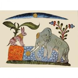 Le lièvre et le roi des éléphants auprés du puits de la lune